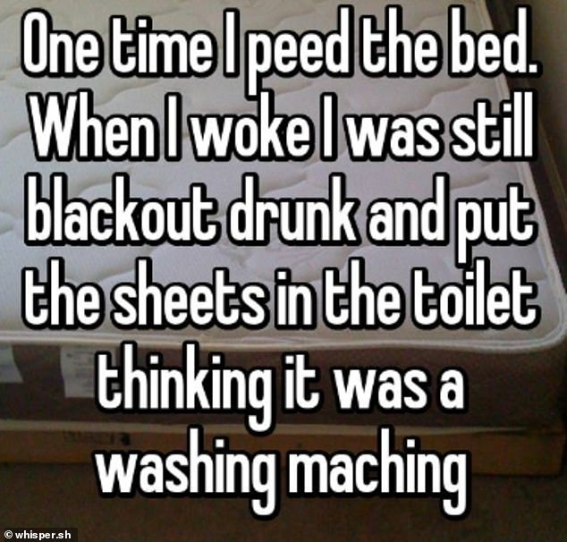 One person who didn't disclose their location, said they wet themselves while drunk and accidentally put their sheets in the toilet instead of the washing machine
