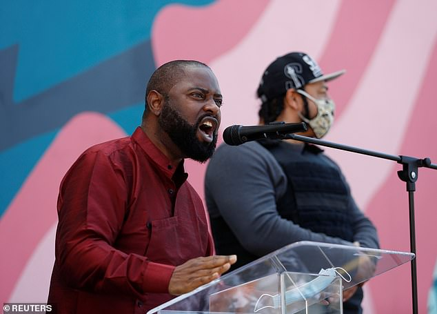 Taylor got a taste for public speaking when he surfaced as a guest lecturer for a UNLV Criminal Justice course taught by his probation officer on his release from prison. Pictured in 2020 speaking at a service for George Floyd, Breonna Taylor and Ahmaud Arbery in Seattle