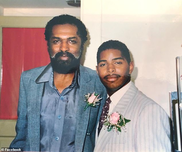 His former pimp father Mel Taylor leaped to his son's defense at his trial, penning a letter to US District Judge Howard McKibben saying 'he is no more a pimp now than I am'. Pictured Andre with his father around 1987