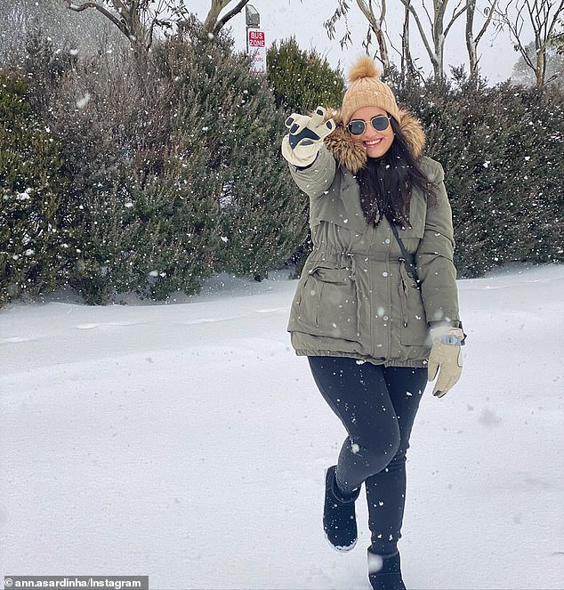 Australia's alpine regions can expected some snow this Friday and Saturday. Pictured is a woman making the most of ideal conditions in Thredbo on August 22