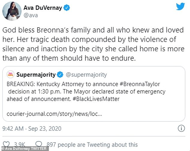 Emotions:Director Ava DuVernay sent her compassion to Breonna's loved ones