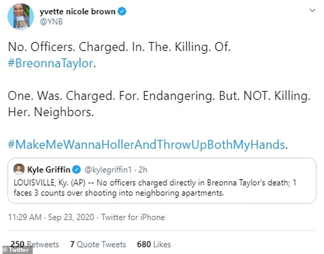Anger:Actress Yvette Nicole Brown was incensed