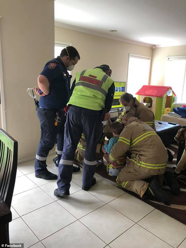Fire fighters, paramedics and even police officers showed up at the home to help the trapped little boy