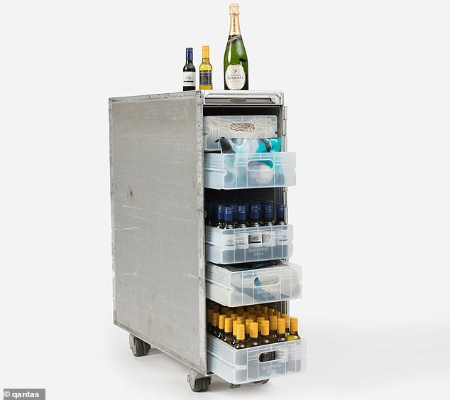 Qantas is now selling its old drink trolleys stocked to the brim with mini bottles of red and white wine, Champagne, and bar snacks