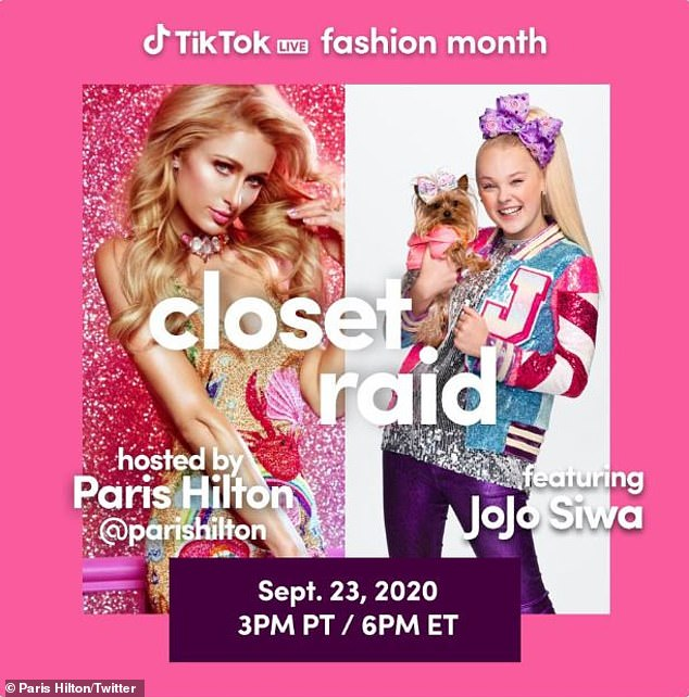 'Because fashion week isn't happening this year': The blonde twosome teamed up for a closet raid at 3pm PST in honor of TikTok Live Fashion Month