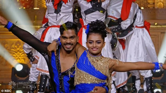 Duo: Dance duo Bad Salsa, from Kolkata, India, combined their talents with Mumbai¿s V.Unbeatable, the winners of this year¿s AGT: The Champions, on a rousing, fast-paced dance routine