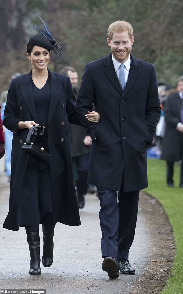 Meghan opted for a navy ensemble at Sandringham on Christmas Day, choosing British designer Victoria Beckham, and wearing a coat, navy jumper dress, boots and a bag from her collection