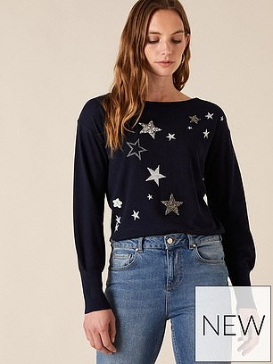 Monsoon Recycled Polyester Star Badge Jumper (£55) at Very