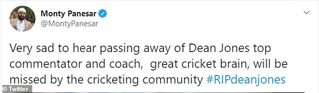Cricketers quickly posted their condolences to Twitter when the news broke on Thursday night