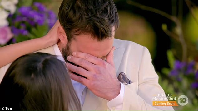 Tears:Locky burst into tears and gasped for air as he delivered the bad news to Bella, saying he needed 'more certainty' in a relationship