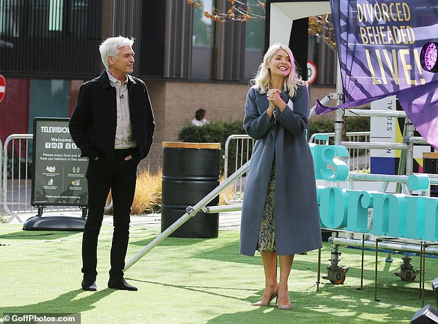 Lively: Elsewhere in the episode, the dynamic duo appeared in great spirits as they watched singers from Six The Musical perform outside ITV studios