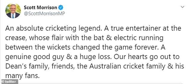 Prime Minister Scott Morrison paid tribute to the 'absolute cricketing legend'