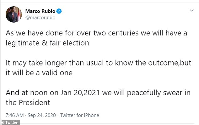 '[W]e will have a legitimate & fair election,' Rubio tweeted. 'It may take longer than usual to know the outcome,but it will be a valid one,' he said in reference to mail-in ballots potentially holding up the results