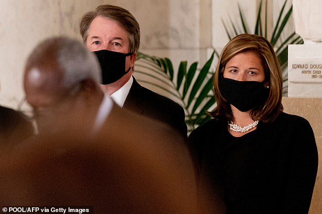 Supreme Court Justice Brett Kavanaugh and his wife Ashley at Ginsburg's memorial ceremony