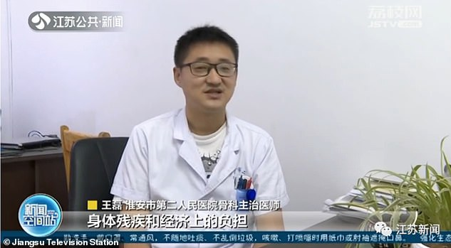 The patient felt insecure about his height for a long time and hoped to be 1.8 metres (5ft9), Dr Wang Lei (pictured), a chief orthopaedist at the hospital, told the local media