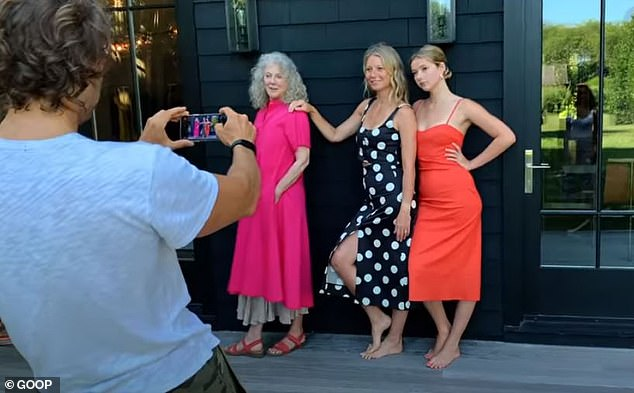The trio: Here Apple is seen again with her mother as well as Danner as Brad Falchuk takes the snapshot