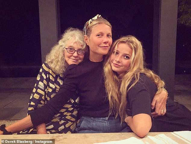 For my kid;Gwyneth Paltrow has saved all of her iconic red carpet outfits for her daughter. Seen with mom Blythe Danner and daughter Apple in 2019