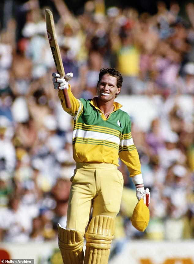 Jones celebrates his One Day International century against Pakistan at the WACA on January 2, 1987