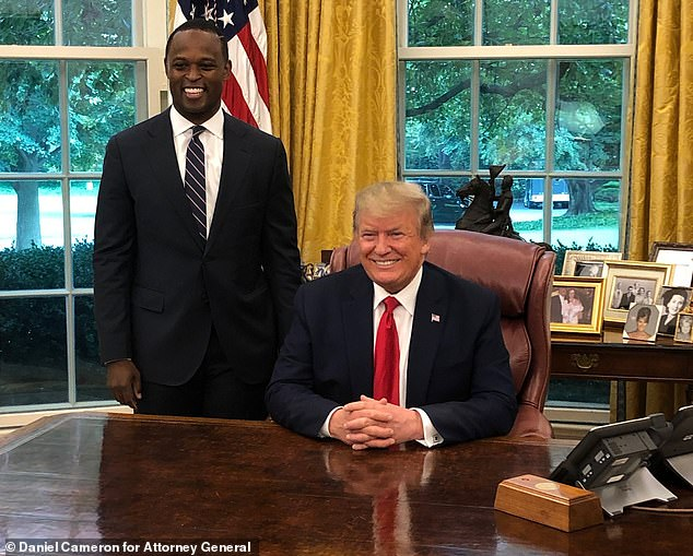 Cameron (pictured last year in the Oval Office) is considered a rising star in the Republican party.Trump on Wednesday praised Cameron's 'fantastic' handling of the Breonna Taylor case and called him 'really brilliant' and a 'star'