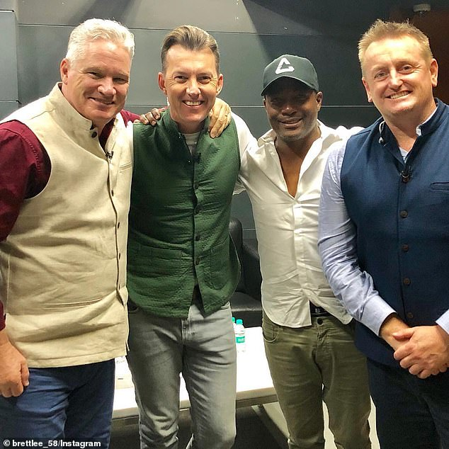 Before his death, Jones had been staying in the Mumbai hotel with Brian Lara (second from right), Graeme Swann, Scott Styris (right) and Brett Lee (seconf from left)