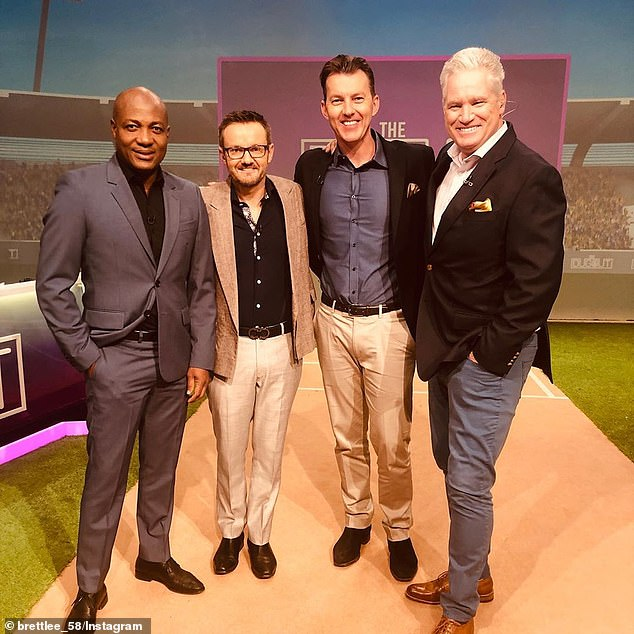 Jones (right) was in the subcontinent as part of Star India's commentating team for the IPL, which is being played in the UAE. He is pictured with Brian Lara (left), Mike Hesson (second from left) and Brett Lee (second from right)