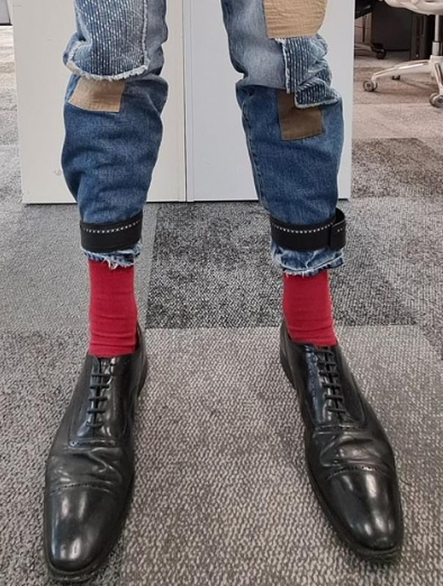 Jeremy Vine was showcasing his ripped jeans on a Twitter post but it was his huge feet that grabbed the attention of social media users