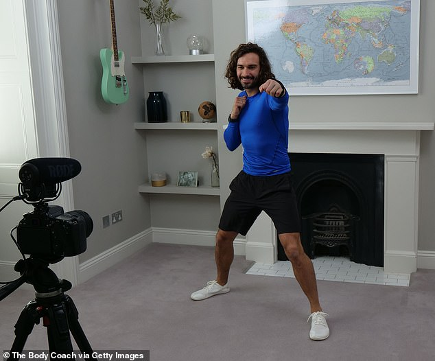 Popular high-intensity interval training (HIIT) regimes as loved by Joe Wicks, pictured, can help elderly hospital patients build up their strength and recover quicker, experts found