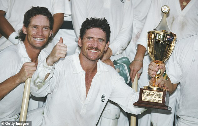 Jones (left) won the 1987 Cricket World Cup with Australia after they defeated England