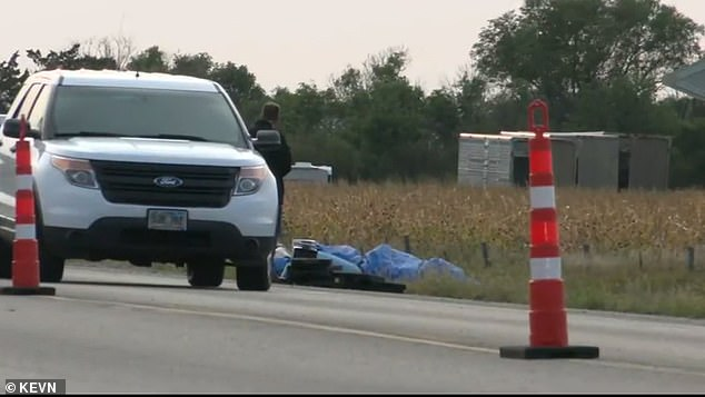 Boever's body was not found until the next morning. His family believe the state is being 'tight-lipped' in the investigation. Pictured is the crash site