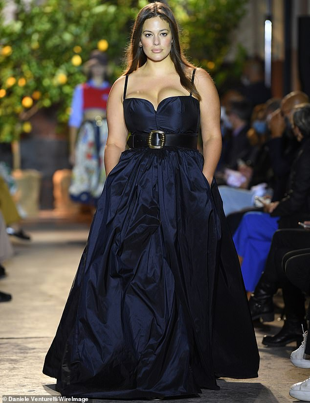 Making it happen: Ashley Graham strutted her stuff down the runway at the Etro show during Milan Fashion Week this Thursday