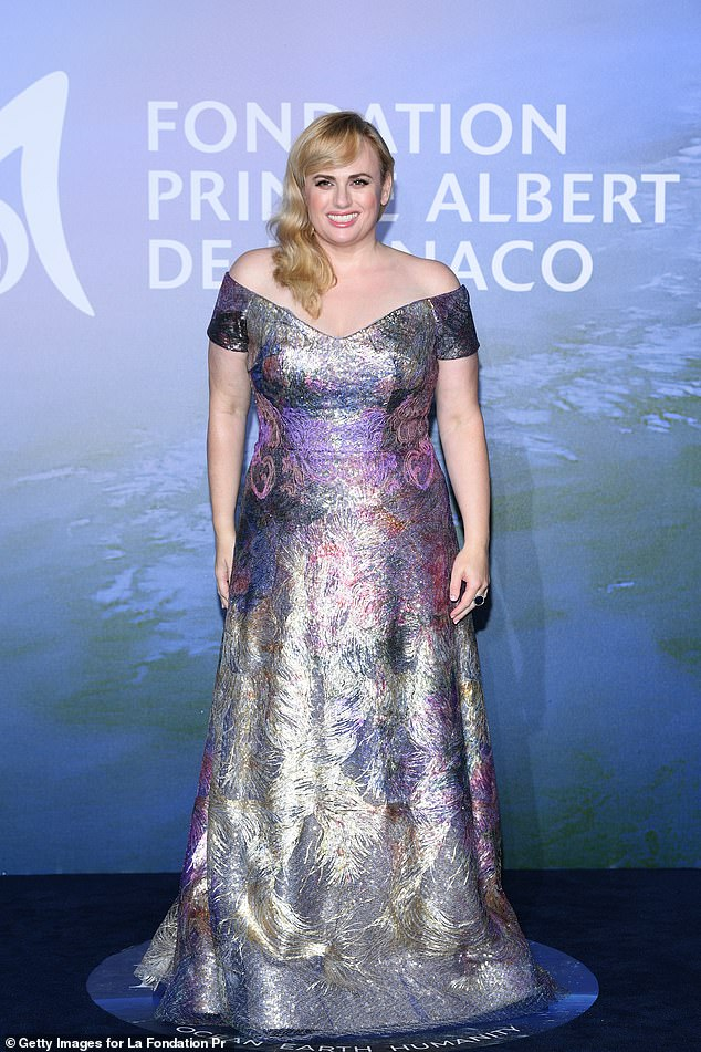 Transformed:Rebel Wilson also showed off her incredible weight loss in a metallic watercolour effect gown as she arrived for the gala event