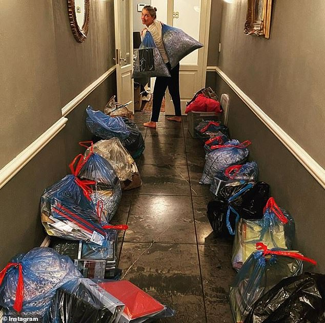 Moving: Earlier this month, she had garbage bags filled with stuff lined up in the hallway in her townhouse. She revealed a lot of the stuff was going to Ric's granddaughter Olivia Otcasek