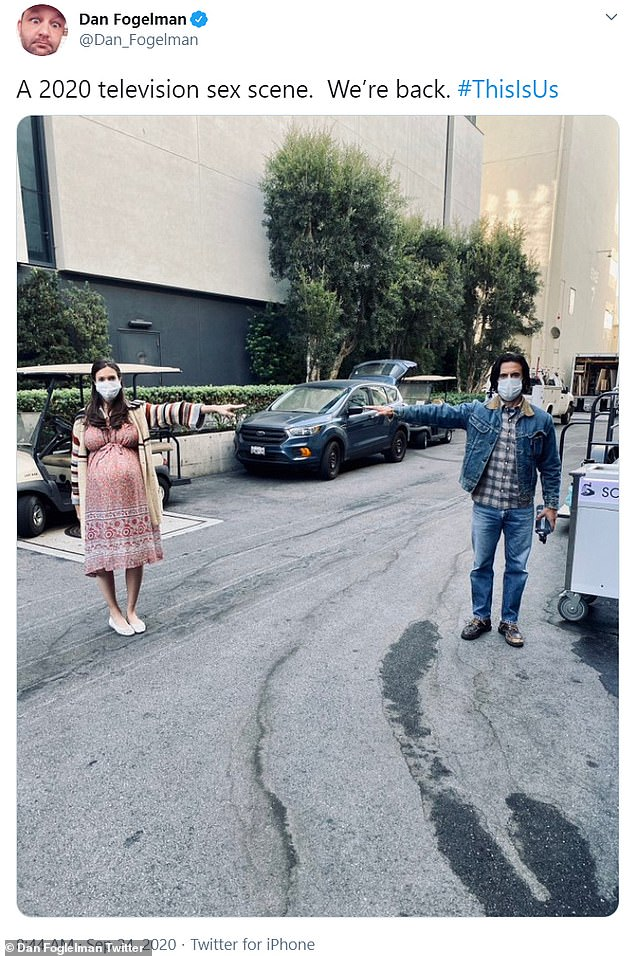 '2020 sex scene': Show creator Dan posted a photo of leading actors Mandy and Milo on the lot as they stood masked up and six feet apart from each other