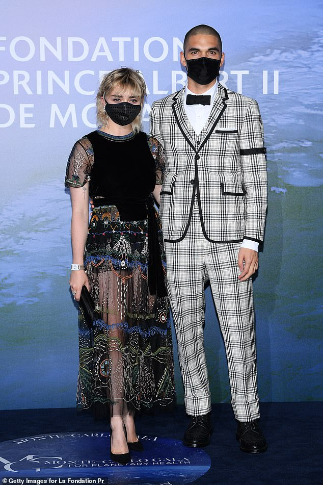 Gorgeous: Maisie Williams turned heads with her new blonde mullet as she walked the blue carpet with beau Reuben Selby at the 2020 Monte Carlo Gala for Planetary Health on Thursday