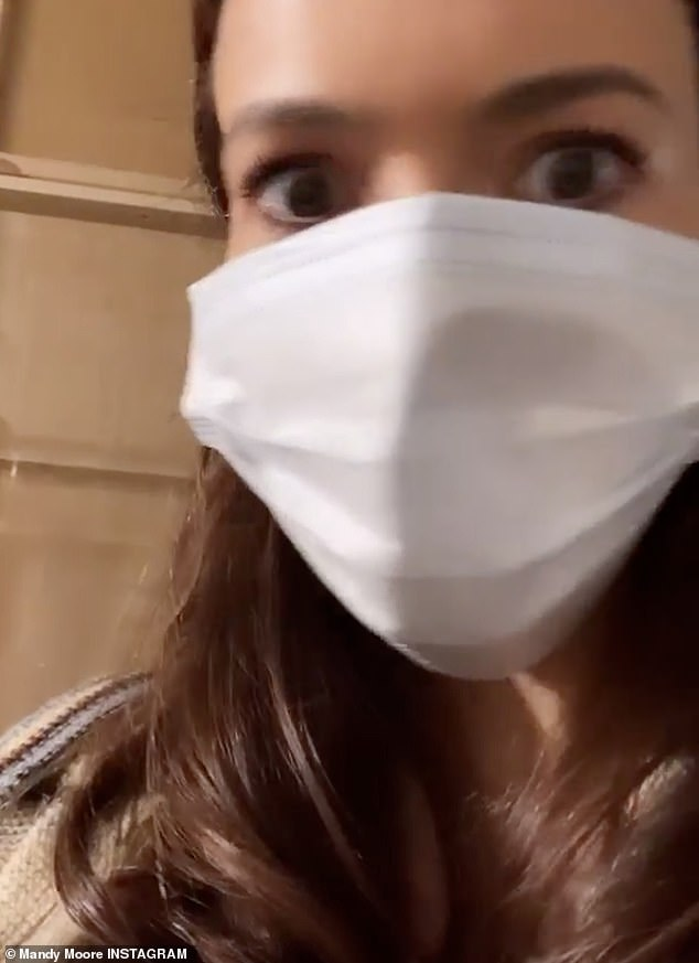Masked: The mom to be made sure to not play around with safety as she wore a mask the whole time on set in between scenes