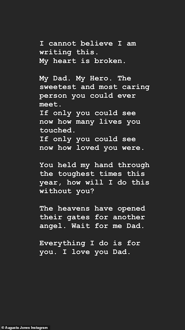His daughter Augusta opened up about her heartbreak with a post on Instagram on Friday