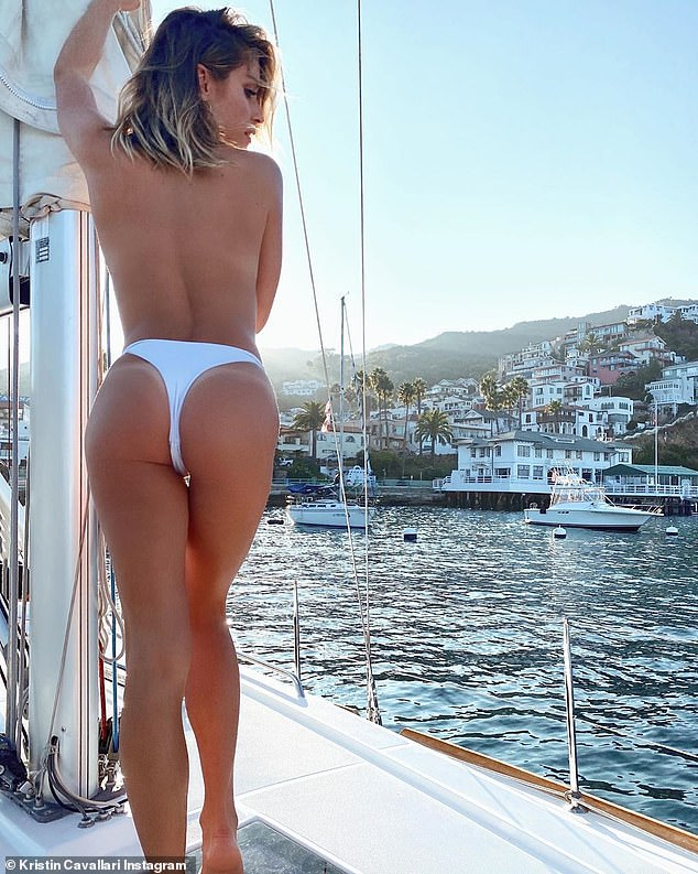 Bringing the heat:Kristin Cavallari tried to break the internet on Thursday by sharing a striking photo of herself while topless on a sailboat. The newly single beauty had her naked back turned to protect her modesty but in doing so flashed her bottom