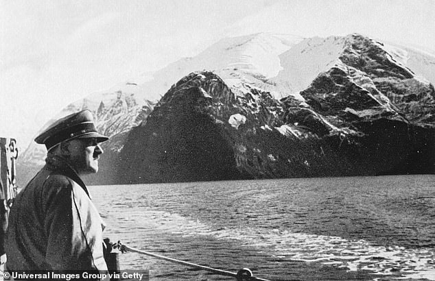 Adolf Hitler visiting the Norwegian fjords aboard a war ship, Weimar Republic