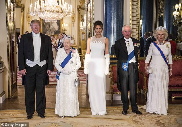 President Trump attending the State Banquet at Buckingham Palace with the Queen, First Lady Melania Trump, Prince Charles and the Duchess of Cornwall
