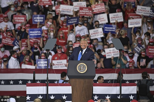 Trump described his opponent as 'weak as hell,' accused him of surrendering to a party of 'flag burners, rioters and anti-police radicals' and again claimed Biden was on drugs