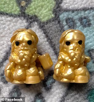 A normal golden Thor (left) and one missing his hammer (right)