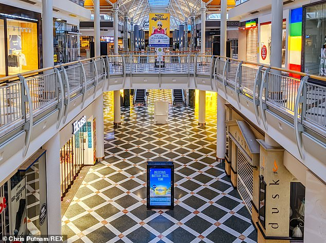This is due to the changing nature of shopping due to restrictions such as social distancing and store capacity limits (pictured, quiet shopping centre in Melbourne on September 12)