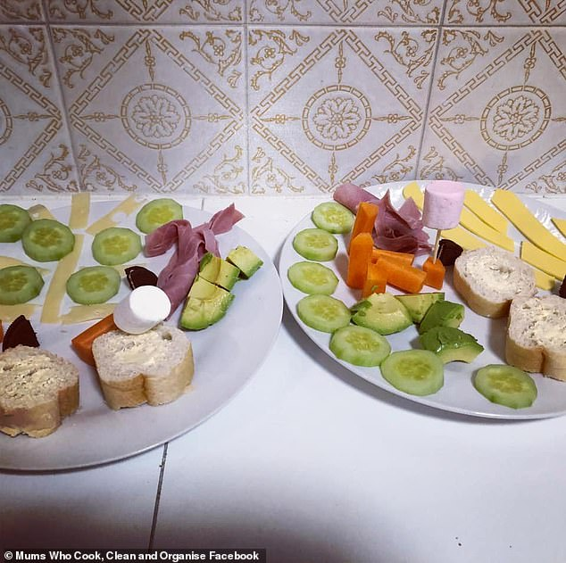 A wife has been left in hysterics after her husband created an evening meal for their children featuring slices of cheese, cucumbers, carrot and ham with 'Baby Shark' inspired fins made out of Oreo cookies