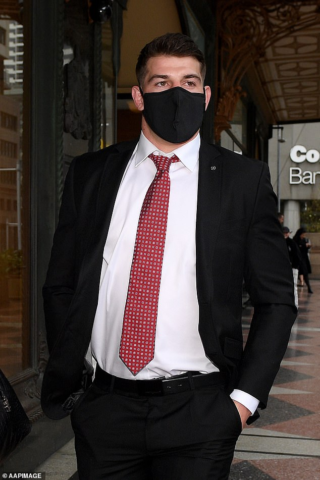 Canberra Raiders NRL player Curtis Scott leaves the Downing Centre Court in Sydney on Wednesday, September 9