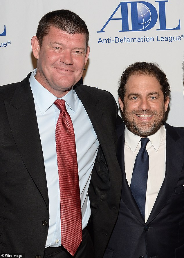 James Packer (left) and Brett Ratner (right) were named in the suit. Kirk claims she was forced into sex with Tsujihara to 'induce him to agree to a $450 million deal' between Warner Bros and their production company RatPac-Dune Entertainment