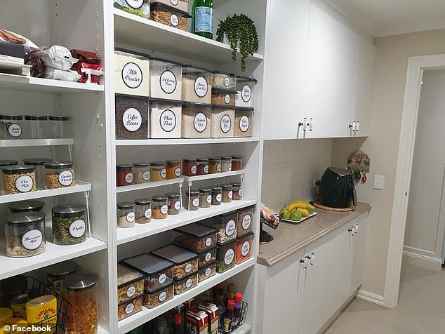 Posting to the Mums Who Organise Facebook group, Bernadette said she only recently organised her pantry using multiple storage containers and jars.The containers seem to be organised in rows based on categories