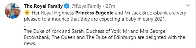 Official announcement: The Royal Family shared their congratulations on social media, echoing the best wishes expressed in the statement and accompanying them with a sweet photo of the couple on their wedding day in October 2018
