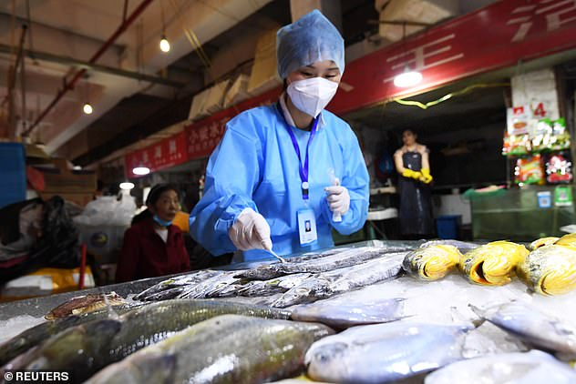 The resurgence in Qingdao is not the first time in recent months that overseas frozen products have been linked to the spread of the coronavirus. In this file photo, a worker retrieves a swab from frozen fish in Guizhou on July 1
