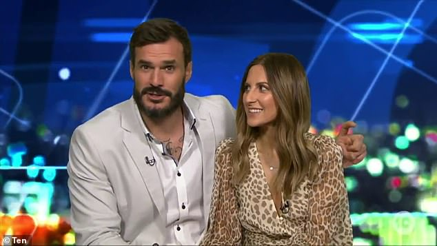 Smitten:The Bachelor's Locklan 'Locky' Gilbert and his winner Irena Srbinovska appeared on The Project on Friday night - and it's clear the pair are very much in love. Both pictured