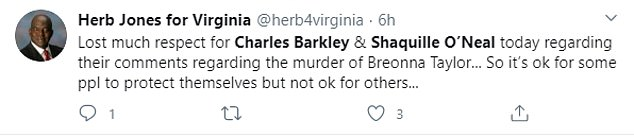 Herb Jones, a former Democrat candidate for the Virginia Senate, said he had 'lost respect' for both Barkley and O'Neal after their remarks
